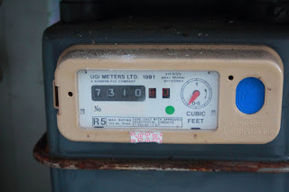 Photo of Imperial gas meter reading in cubic feet cf /hcf hundreds of cubic feet