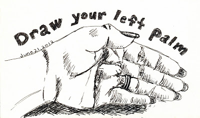 Every Day in June #21 (EDM #236) - Draw the palm of your left hand Pen and Ink rendering by ©Ana Tirolese