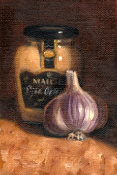 Oil painting of a purple garlic bulb in front of a jar of Maille-brand Dijon mustard.