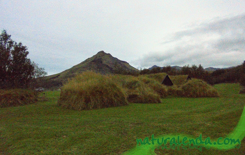casas de hierba desde atras