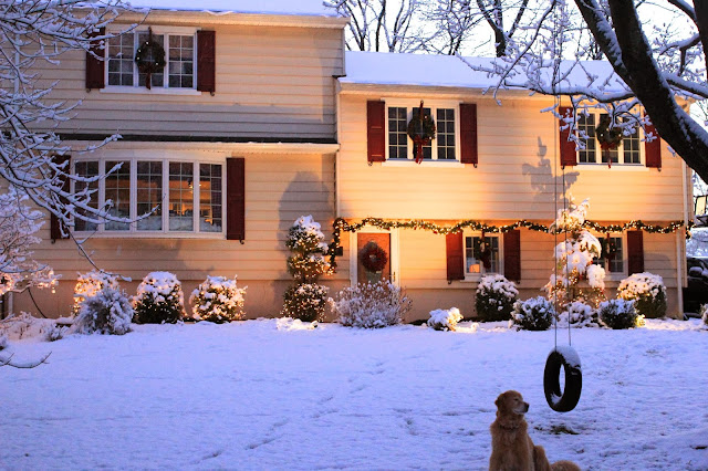golden retriever and christmas house in snow-www.goldenboysandme.com