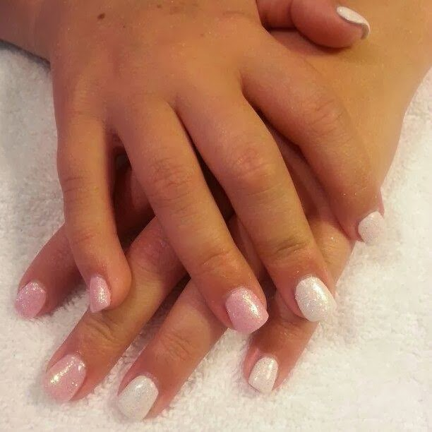 Long almond acrylics with LED polish ombre design with tiger ...