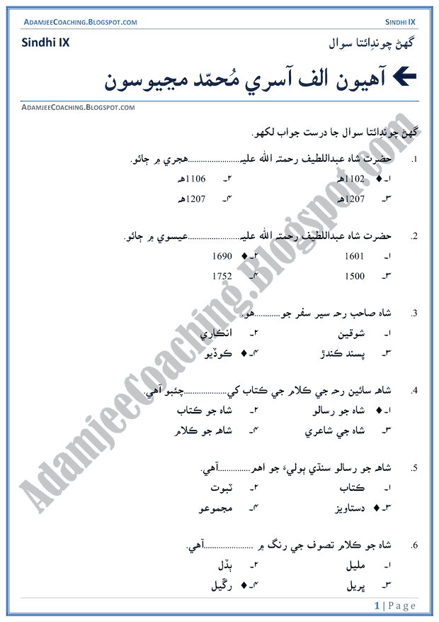 allah-kay-saharay-multiple-choice-questions-sindhi-notes-for-class-9th