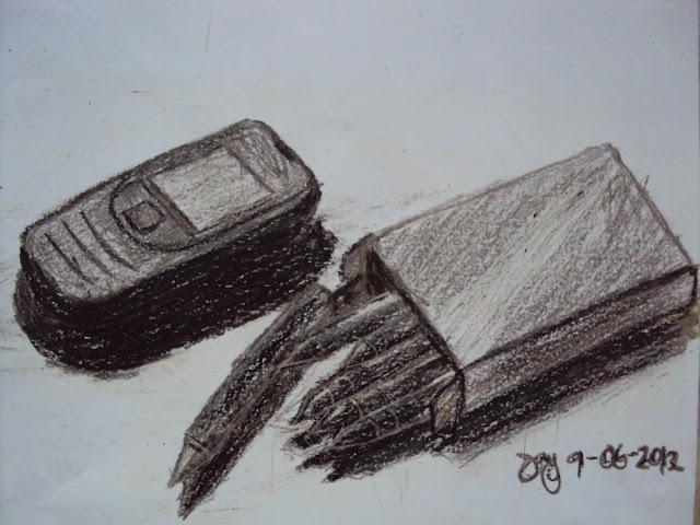Cellular phone and a box of crayon- Original Work