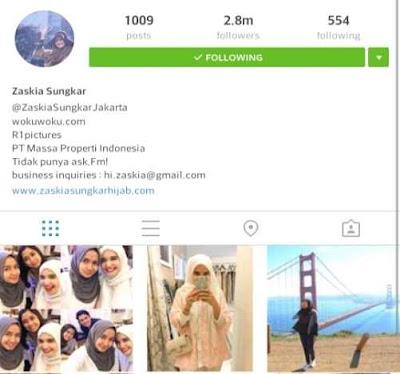 Akun Instagram Zaskia Sungkar