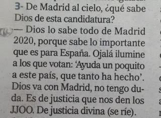 """El presidente del COE dice que """"Dios está con Madrid"""""""