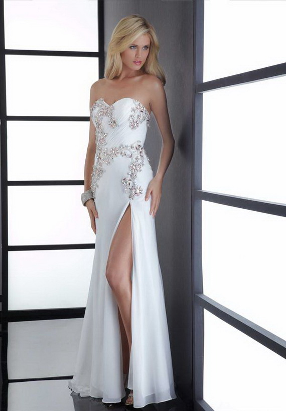 strapless sweetheart white long split prom dress with paillette