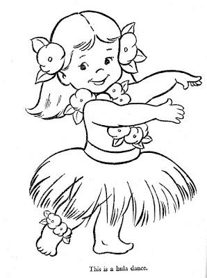 Hawaiian hula girl coloring pages for Hula girl coloring page