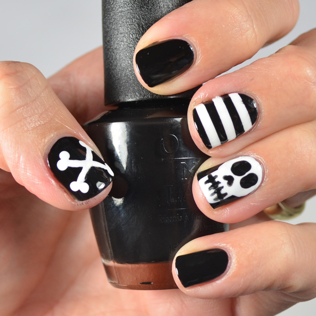 Go polished october 2015 my last nail design for halloween 2015 this is the manicure i will wear on halloween day i love any black and white design because it can make anything prinsesfo Images