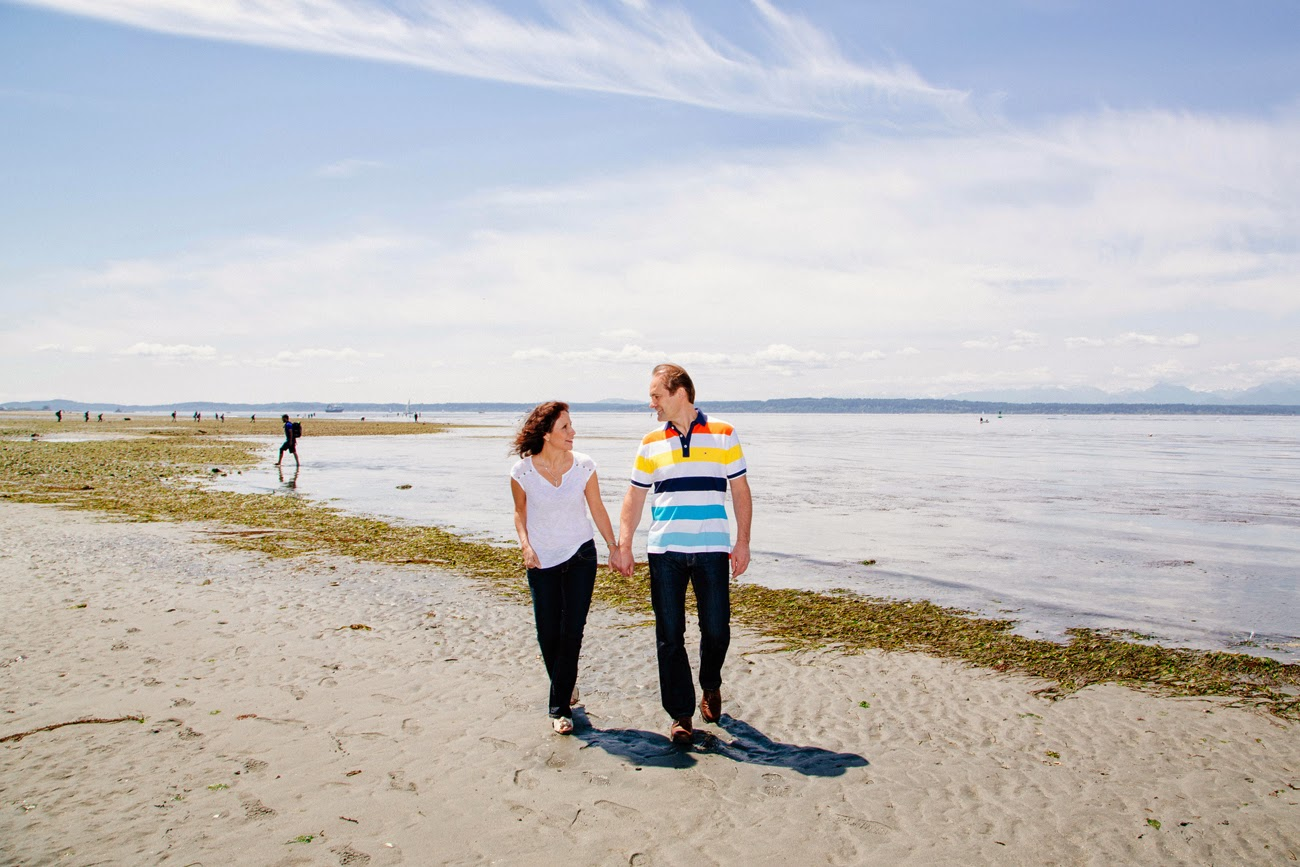 Jan Roelof and Eugenia's engagement photo at Golden Gardens beach - Kent Buttars, Seattle Wedding Officiant