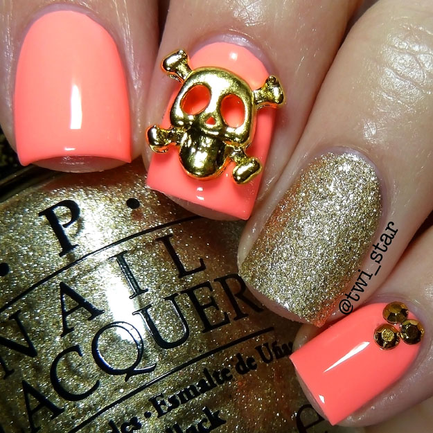 Gold Skull nail art charm OPI Honey Ryder Gold Neon Peach
