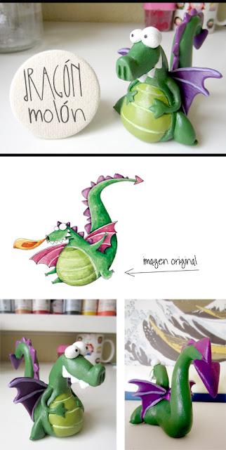 dragón molón figura de fimo