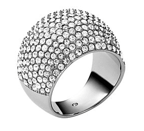 Pave Embellished Silver Tone Dome Cocktail Ring Michael Kors