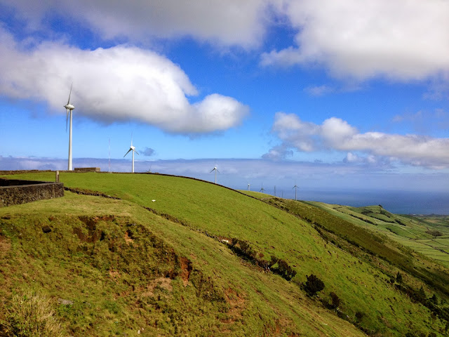 Windmills in the hills of Terceira, Azores, Portugal, on Semi-Charmed Kind of Life