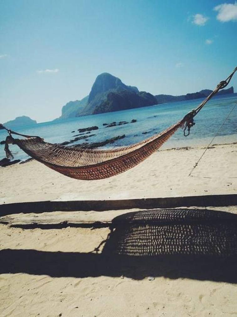 Hammock on a deserted beach, summertime, vacation, paradise