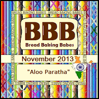 Aloo Paratha Bread Baking Babes November 2013 Challenge at www.girlichef.com