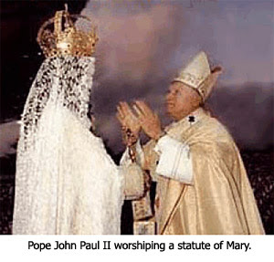 Pope Worshipping Mary