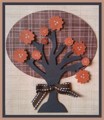 Paper piecing piece fall autumn tree with leaves and flowers for scrapbooking or card. Template available as well as knk and svg for cricut, Klic-n-kut and other cutters.