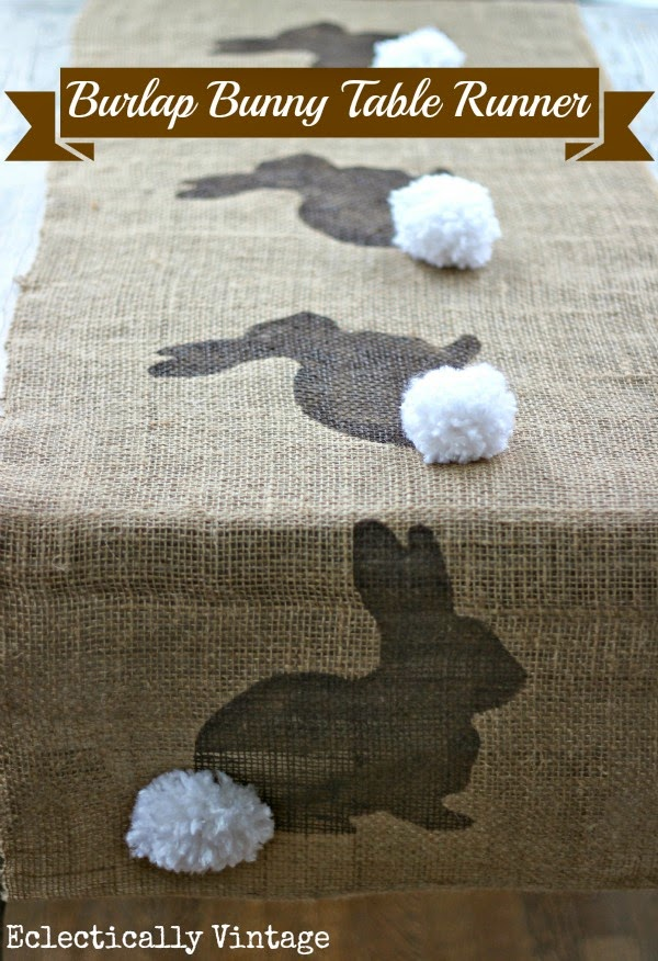http://eclecticallyvintage.com/2013/03/burlap-bunny-table-runner/