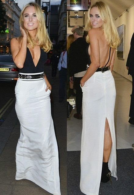 There's a lot going on here. . . .But we Love! Cause, Kimberley Garner going to be a fashion darling. All eyes on her! The 24-year-old certainly stole the show at Julio Larraz's Rules of Engagement art exhibition in London on Thursday, October 2, 2014.