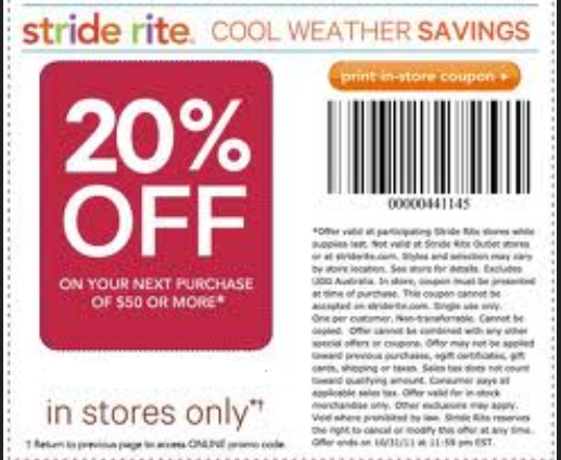 Many of Stride Rite's brick-and-mortar stores have closed over the last several years, but the online store is still thriving. How to Redeem a Coupon Code at Stride Rite. At checkout, you'll find a box below the items in your cart on the left side. This box reads,