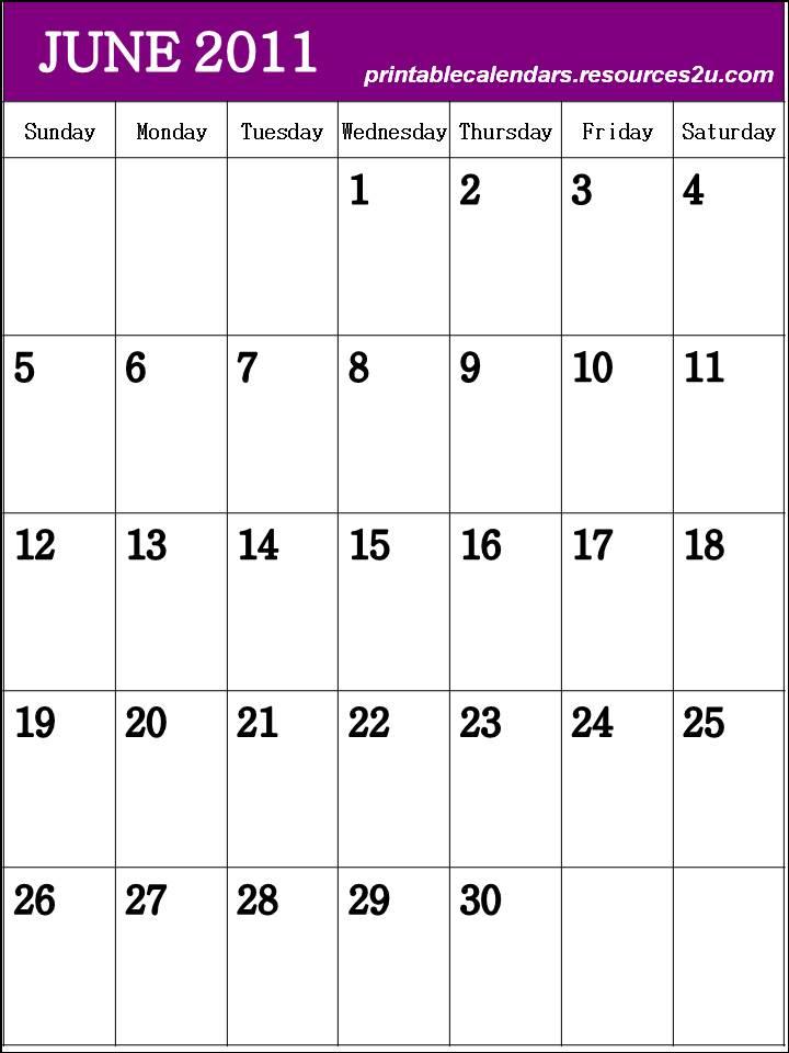 june 2011 calendar blank. June 2011 Calendars with