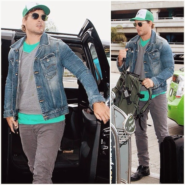 Peter Facinelli G-Star Raw Arc slim 3D denim jacket - LAX 19th July 2014
