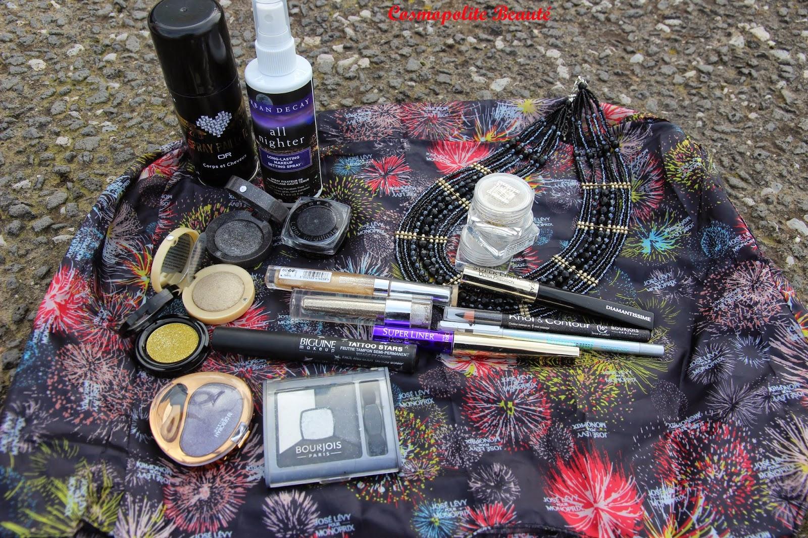 maquillage de fêtes, look des fêtes, maquillage, urban decay, ombres à paupières Bourjois, L'Oréal, liners paillettes, diamantissime, tatoo, paillettes, biguine, stars powders