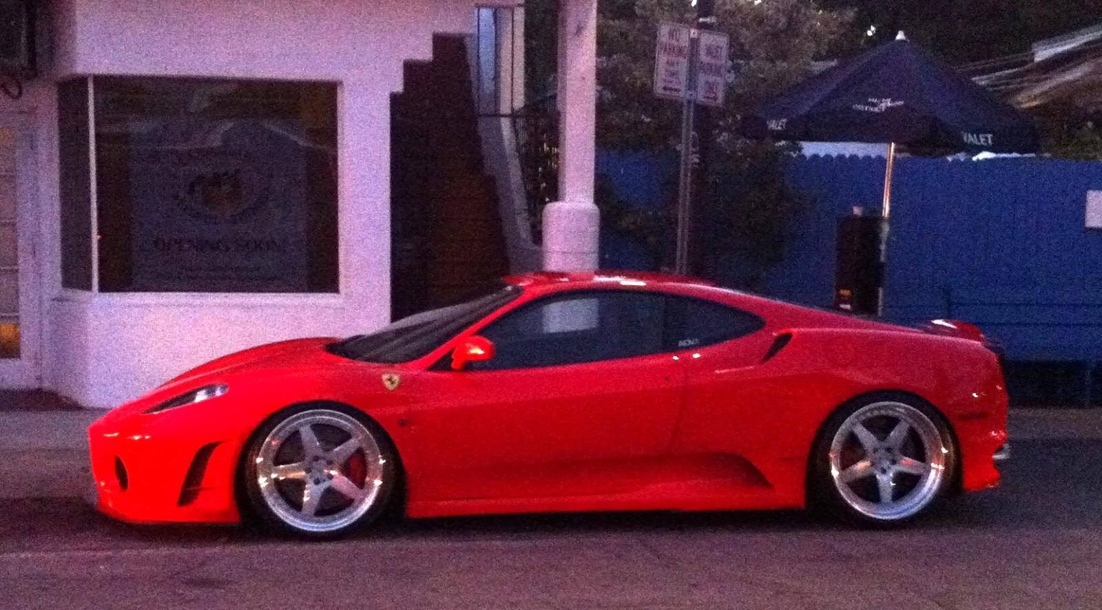 Red Ferrari F430 With Custom Rims
