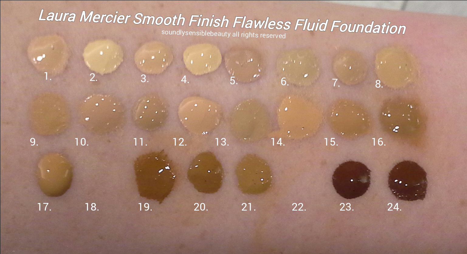 Laura Mercier Smooth Finish Flawless Fluide, Fluid Foundation: Review & Swatches of Shades  Shell, Creme, Vanilla, Ivory, Ecru, Cashew, Linen, Macadamia, Butterscotch, Dune, Buff, Honey, Dusk, Golden, Suntan, Praline Maple, Chai*, Nutmeg, Pecan, Amber, Chestnut*, Truffle, Espresso