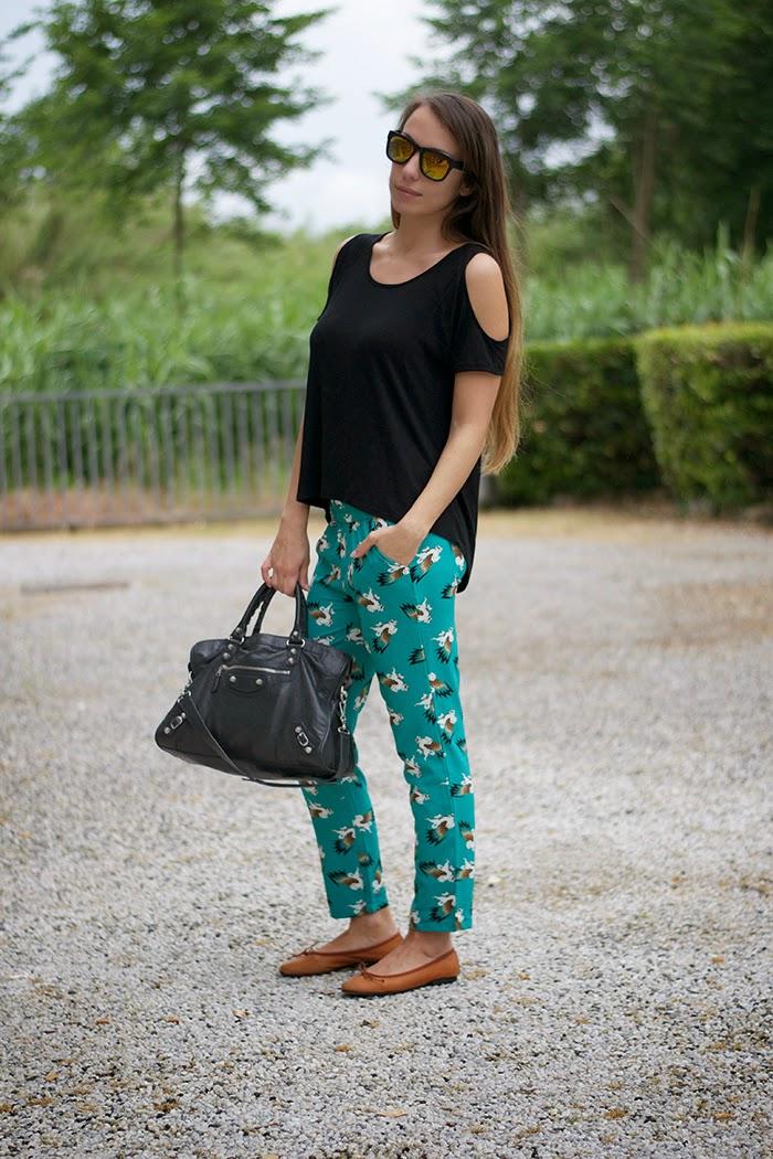 pantalone verde smeraldo