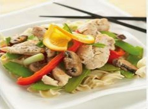 Chicken stir Orange on Nest Egg Noodles