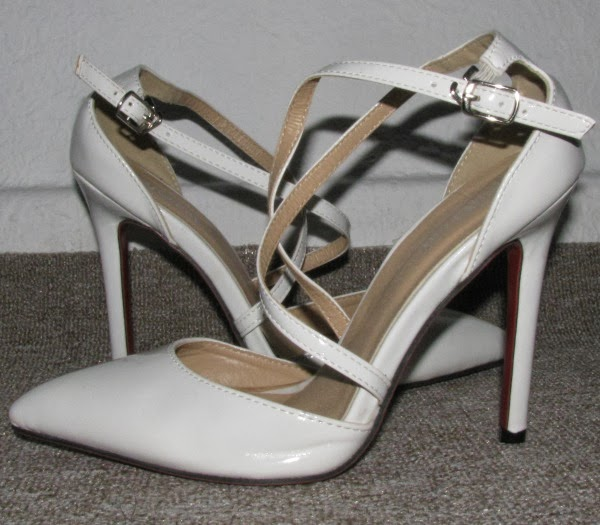 Pointed Toe Patent Leather White Sandals With Cross Strap Red Soles