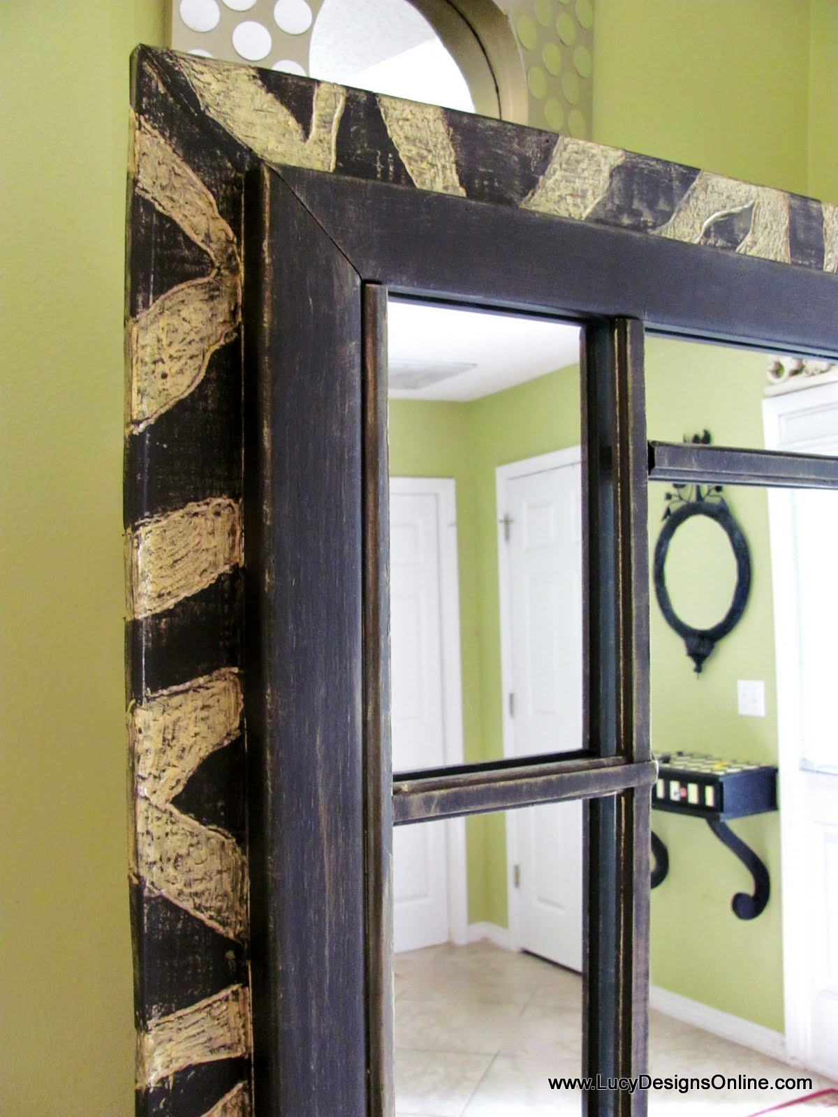 Dremel carved zebra pattern on 6 foot wood leaner mirror for 7 foot mirror