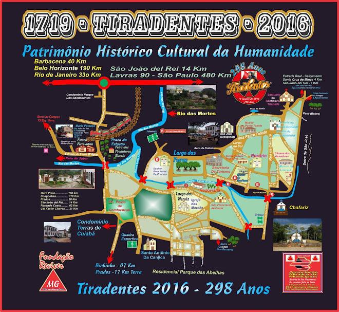 Mapa da Àrea Central de Tiradentes Minas Gerais