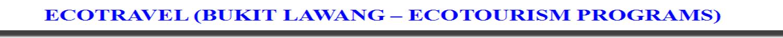 ECOTRAVEL (BUKIT LAWANG) ECOTOURISM PROGRAMS