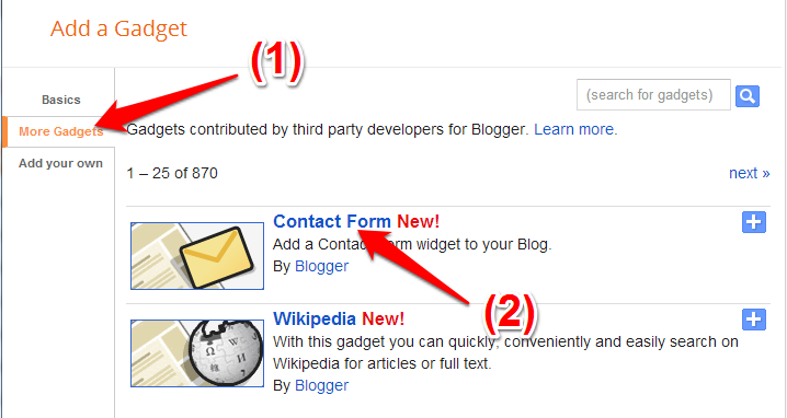 Blogger Contact Form Widget Picture