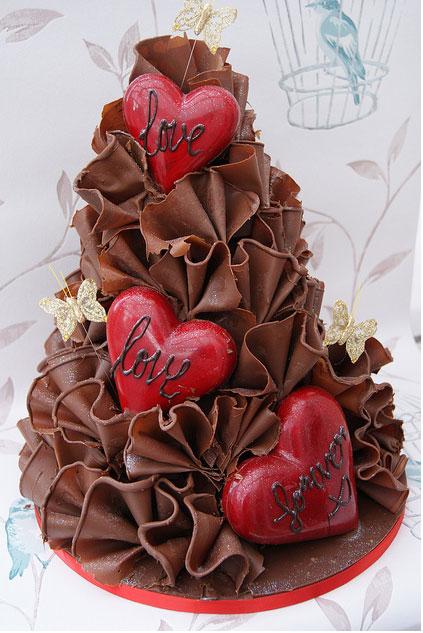 Chocolate Heart Shaped Wedding Cakes