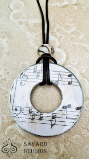 Sheet Music washer necklace, music lover jewelry