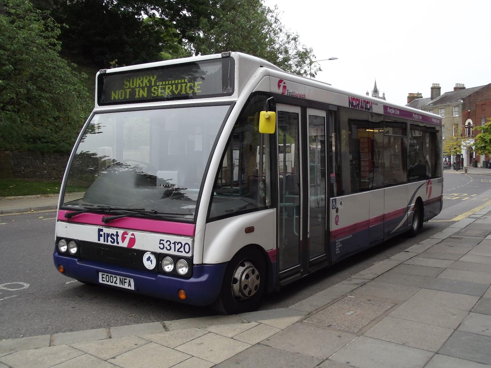 Optare Solos EO02NEY & EO02NFA are branded for the Purple Line along ...