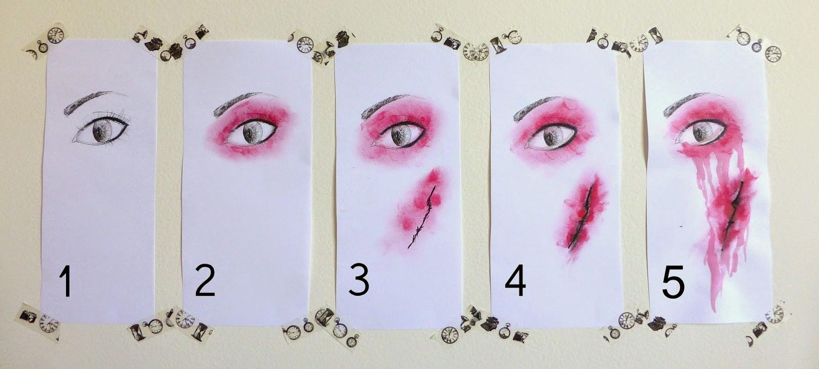 rouge halloween un maquillage sanglant pour les rdv. Black Bedroom Furniture Sets. Home Design Ideas