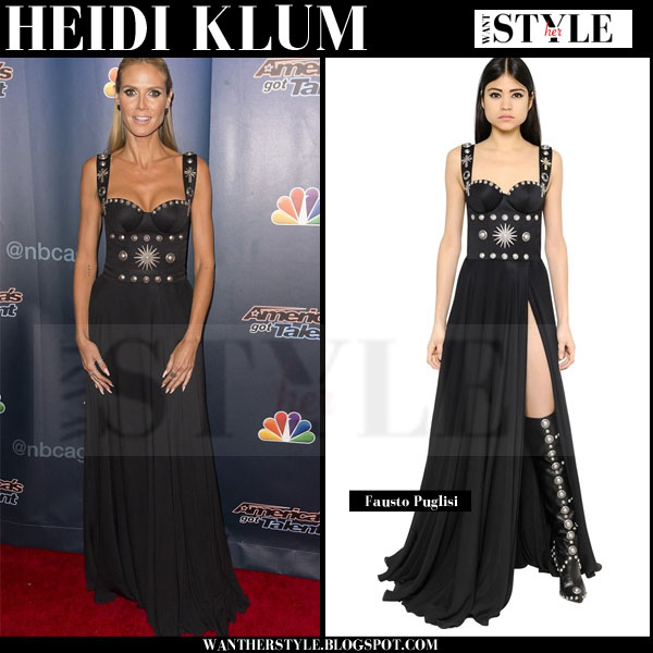 Heidi Klum in black embellished bustier gown fausto puglisi americas got talent what she wore