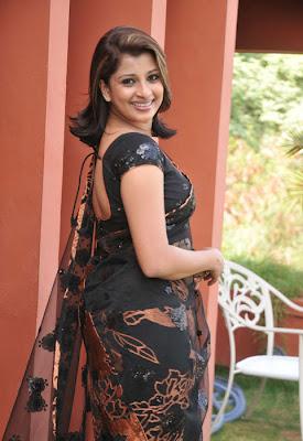 Nadeesha Hema mali in Black Designer Transparent Saree