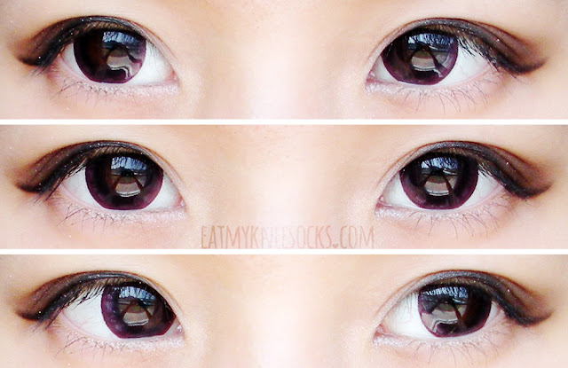 Left, right, and center views of the Geo Mimi Cafe Cappuccino Violet Red circle lenses from Geo Coloured Lenses, as viewed on dark brown eyes in daytime window lighting.
