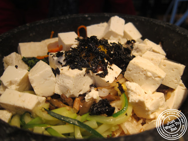 Image of Tofu and mushrooms bibimbap at Miss Korea BBQ in Koreatown NYC, New York