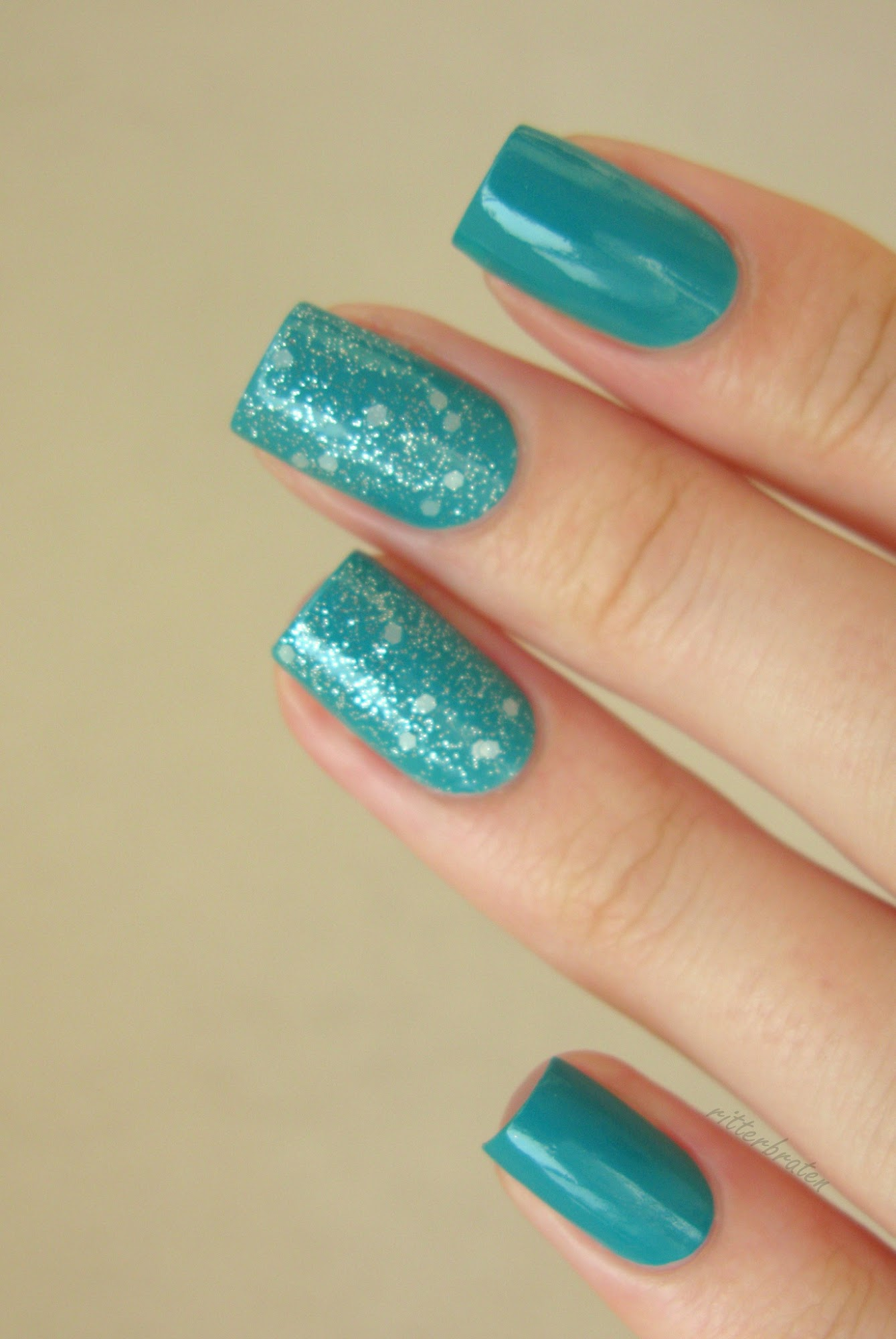 OPI Pirouette My Whistle over teal