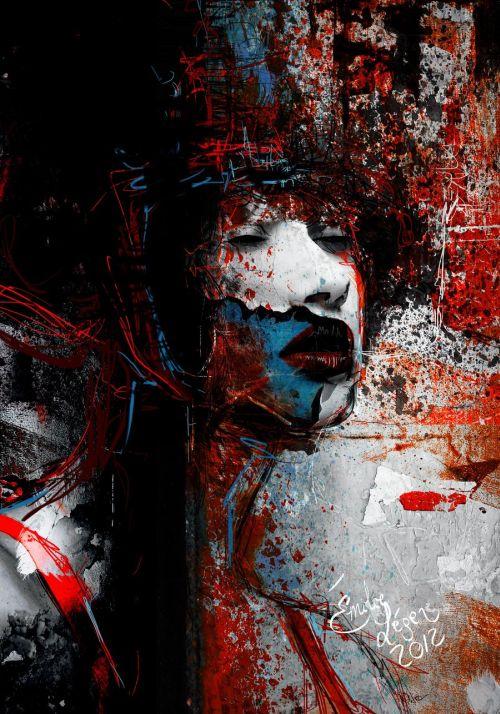 emilie leger foto manipulação digital surreal mulheres modelos sombria Manifeste seu silêncio