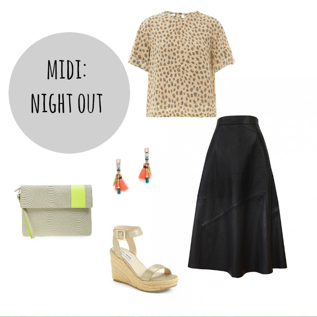 wear a midi skirt for a night out