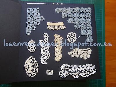 Página del álbum con muestras de ganchillo