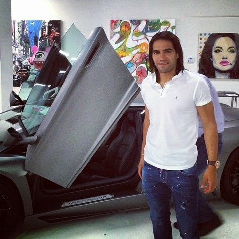 Radamel Falcao being caught Supercar rental